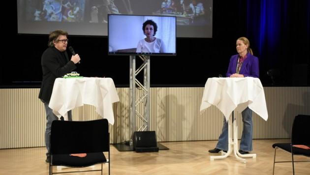 Homunculus-Geschäftsführer Dieter Heidegger und Vizepräsidentin Stephanie Waldburg-Zeil mit der künstlerischen Leiterin Susi Claus, die via Zoom aus Berlin zugeschaltet wurde. (Bild: Homunculus)