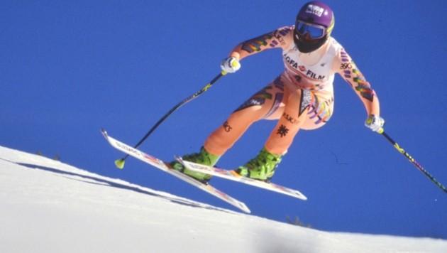 Fast kitschig: Petra Kronberger holte bei strahlend blauem Himmel Gold in der Abfahrt. (Bild: Honorar)