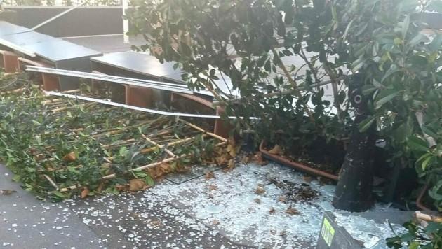 Der zerstörte Gastgarten (Bild: Castelletto)