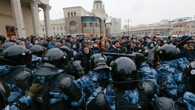 Russland wirft drei Diplomaten aus Deutschland, Polen und Schweden vor, an einer Demonstration für die Freilassung Nawalnys teilgenommen zu haben. (Bild: ASSOCIATED PRESS)