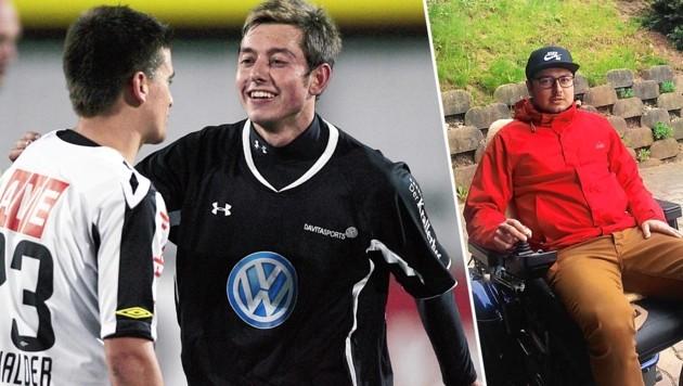 Kevin Thonhofer vor ein paar Jahren und heute. Als Fußball-Legionär und jetzt im Rollstuhl. (Bild: GEPA Pictues/Matthias Hauser, zVg, Krone KREATIV)
