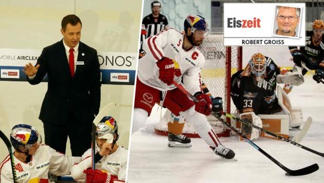 Die Eisbullen mit Trainer Matt McIlvane und Kapitän Tom Raffl starten am Sonntag in die Pick-Runde (Bild: Krugfoto, Tröster)