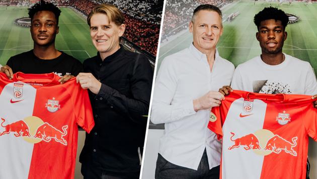 Salzburg-Sportchef Christoph Freund sowie Geschäftsführer Stephan Reiter mit Daniel Owusu (im schwarzen Shirt) und Forson Amankwah (im weißen Shirt) (Bild: Red Bull Salzburg)