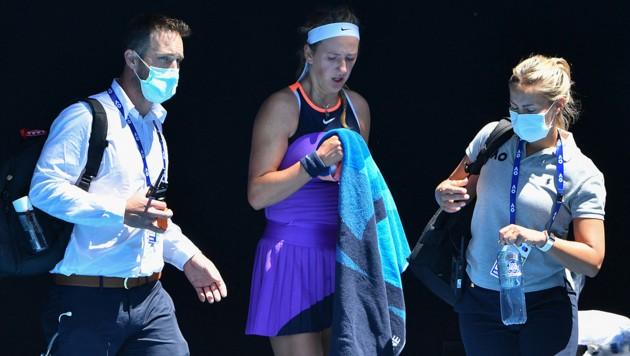 Viktoria Azarenka (Mitte) (Bild: APA/AFP/Paul CROCK)