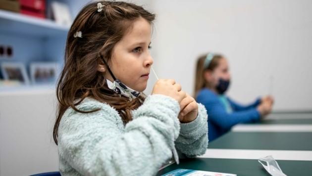 Für eine gewisse Sicherheit in den Schulen sind sie geeignet - doch auch mit einem negativen Ergebnis beim Nasenbohrtest sollten Schulkinder nicht bedenkenlos zu Oma und Opa gehen. (Bild: Imre Antal)