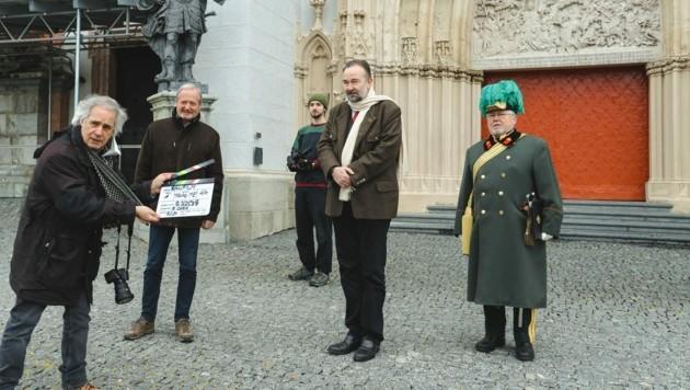 Ein Habsburg zu Besuch in Mariazell: Dreharbeiten für die ORFIII-Doku vor Ort. (Bild: Anna Maria Scherfler)