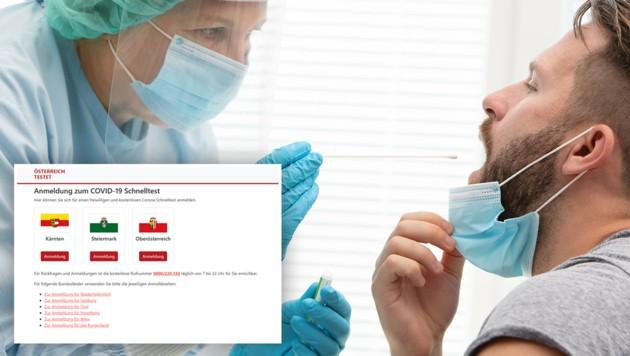 (Bild: Screenshot: oesterreich-testet.at, stock.adobe.com, Krone KREATIV)