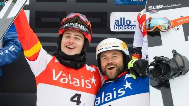 Beim Weltcupfinale im März 2017 gewannen Alessandro Hämmerle (li.) und Markus Schairer den Snowboardcross-Teambewerb. Es ist der bislang erste und einzige für die ÖSV-Herren. (Bild: EPA)