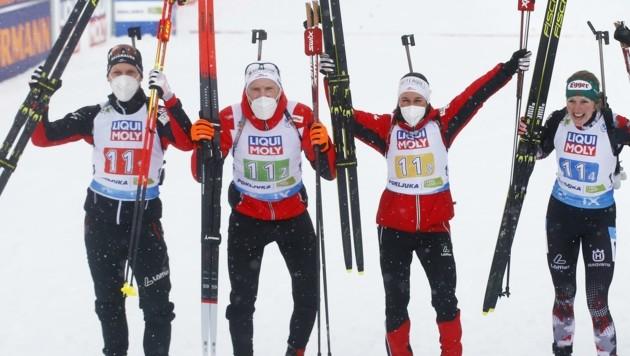 Vize-Weltmeister: David Komatz, Simon Eder, Dunja Zdouc und Lisa Hauser (v. li.) (Bild: BORUT ZIVULOVIC)