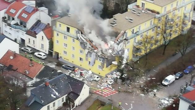 """Die Explosion in Langenzersdorf forderte zwar ein Menschenleben, der Einsatz verlief aber """"nach Plan"""". (Bild: ÖAMTC)"""