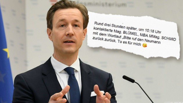 Wegen Kurznachrichten im Fokus: Finanzminister Gernot Blümel (ÖVP) (Bild: APA, Krone KREATIV)