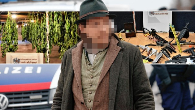 """Der deutsche Coronademo-Veranstalter soll sich in Salzburg ein Haus gemietet haben, um """"in Ruhe"""" eine illegale Hanf-Gärtnerei zu betreiben. Auch ein kleines Waffenarsenal wurde sichergestellt. (Bild: Markus Tschepp, LPD Salzburg, Krone KREATIV)"""