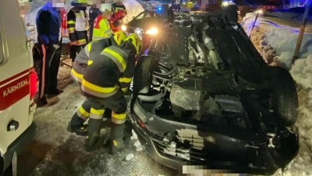 Die Alkolenkerin wurde eingeklemmt und erlitt Verletzungen. (Bild: ÖA-Team BFKdo Hermagor)