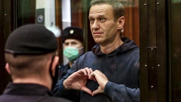 Alexej Nawalny schickte aus dem Gefängnis Liebesgrüße an seine Frau. (Bild: AP)