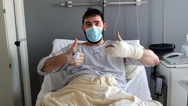 Martin Juzbasic nach der OP. (Bild: Facebook/TSV Bayer Dormagen)