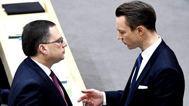 ÖVP-Klubobmann August Wöginger mit Finanzminister Gernot Blümel (Archivbild) (Bild: APA/Robert Jäger)