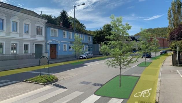 So könnte die Wiener Straße in Purkersdorf bald aussehen. (Bild: Team Wiener Straße)