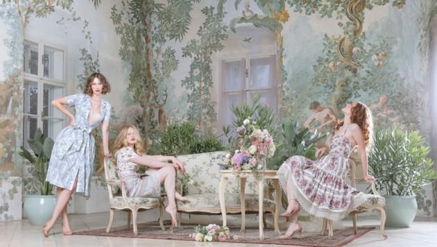 Lena Hoschek entführt mit ihrer neuen Kollektion in den Garten von Marie Antoinette. (Bild: Lupi Spuma/Lena Hoschek)