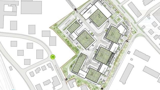 """Das längliche Gebäude links unten an der Schillinghofstraße wäre für die Kulturszene """"reserviert"""". (Bild: Hannak Immobilien)"""