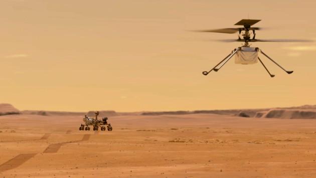 """""""Ingenuity"""" soll der erste kontrollierte Flug in der Atmosphäre eines anderen Planeten gelingen. (Bild: AP)"""