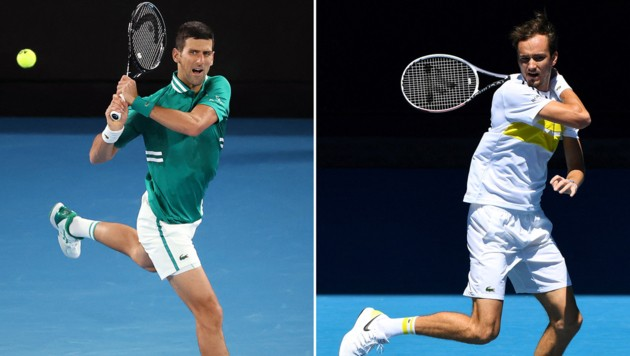 Novak Djokovic (li.) und Daniil Medwedew (Bild: APA/AFP/William WEST, David Gray)