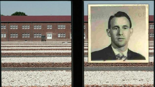 Archivaufnahme des ausgewiesenen Friedrich Karl B. vor der KZ-Gedenkstätte in Hamburg-Neuengamme (Bild: APA/AFP/US DEPARTMENT OF JUSTICE/Jose ROMERO, dpa, krone.at-Grafik)