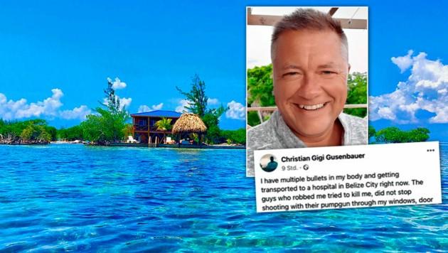 2017 kaufte sich Christian eine Insel vor Belize. Von dort aus rief er um Hilfe. (Bild: privathaven.biz, zVg, krone.at-Grafik)