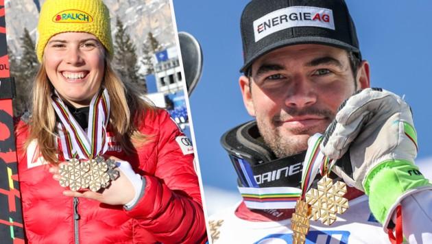 Doppelweltmeisterin Kathi Liensberger und Doppelweltmeister Vincent Kriechmayr (Bild: GEPA )