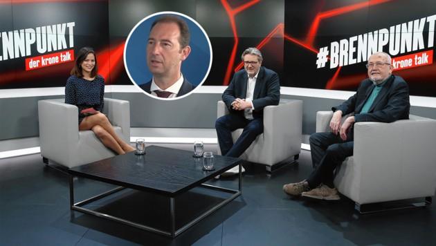 Wie lange bleibt die Gastronomie noch zu? Gesprächsrunde im krone.tv-Studio bei Katia Wagner (Bild: krone.tv, Krone KREATIV)