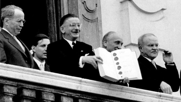 Bei den berühmten Worte von Leopold Figl auf dem Balkon des Schlosses Belvedere in Wien war Alfred Nagl als Sicherheitschef dabei. (Bild: Votava)