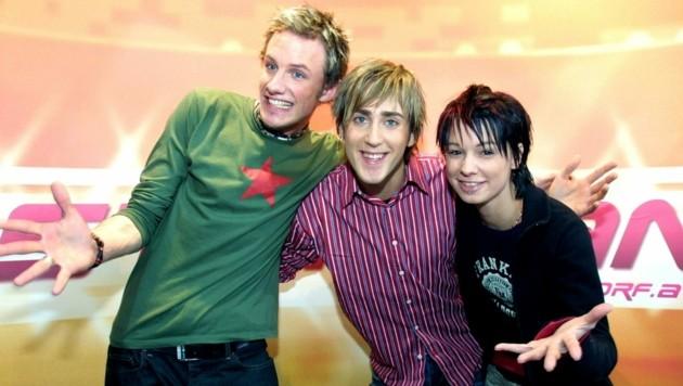 """Die drei """"Starmania""""-Finalisten von 2003: Boris Urban (3.Platz), Michael Tchuggnall (Sieger) und Christina Stürmer (2.Platz) (Bild: HERBERT P.OCZERET/ART)"""