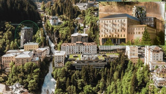 Das Zentrum von Bad Gastein bekommt nahe dem weltberühmten Wasserfall ein spektakuläres neues Aussehen. (Bild: BWM Architekten/Visualisierung)