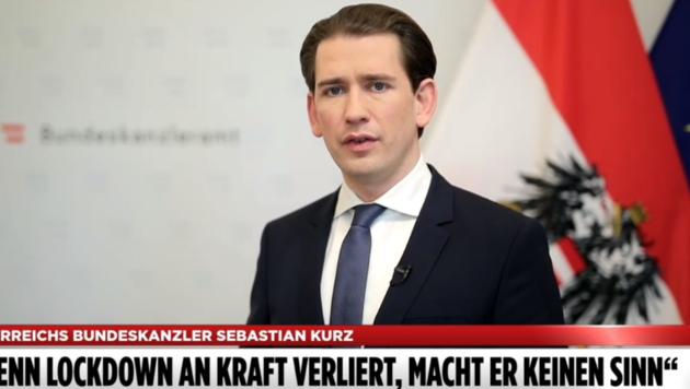 """Bundeskanzler Sebastian Kurz im Gespräch mit der deutschen """"Bild"""": """"Wenn Lockdown an Kraft verliert, macht er keinen Sinn."""" (Bild: Screenshot: bild.de)"""