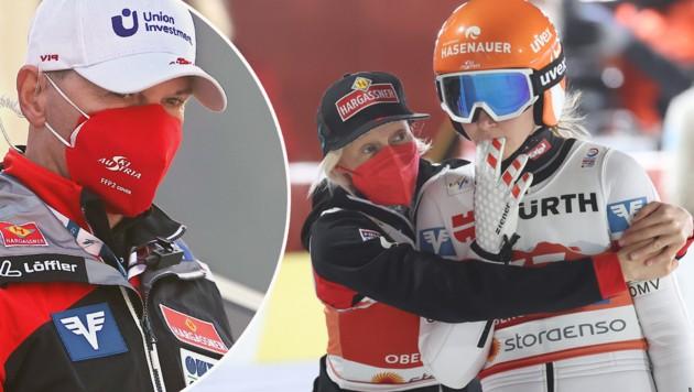 Harral Rodlauer, Daniela Iraschko-Stolz und Marita Kramer (von li. nach re.) (Bild: GEPA )