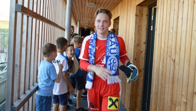 FC Lustenau-Keeper Noah Küng im Stadion an der Holzstraße. (Bild: FC Lustenau/ Frank Andres)