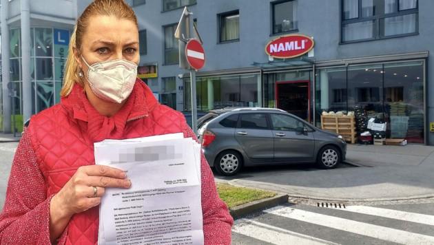 """Die Parkplätze vor diesem Nahversorger sind laut einem Schild in Privatbesitz. Elisabeth Gürel hätte Anspruch auf zwei Stellplätze. Dennoch werden ihre Kunden mit Anwaltsschreiben drangsaliert, klagt sie im """"Krone""""-Gespräch. (Bild: Lovric)"""