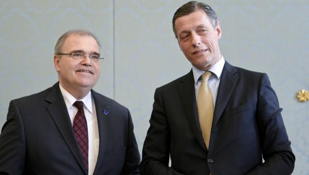 Der ehemalige Justizminister Wolfgang Brandstetter und Justiz-Sektionschef Christian Pilnacek (Bild: APA/Herbert Neubauer)