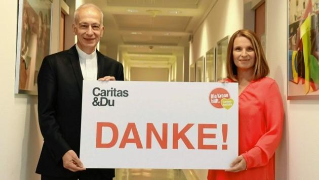 """""""Krone""""-Ombudsfrau Barbara Stöckl und Caritas-Präsident Michael Landau. (Bild: Zwefo)"""