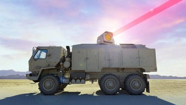Eine 300-Kilowatt-Laserkanone, die der Konzern Dynetics für die US-Armee entwickelt. Die nun angekündigte Laserkanone soll noch um ein Vielfaches stärker sein. (Bild: Dynetics)