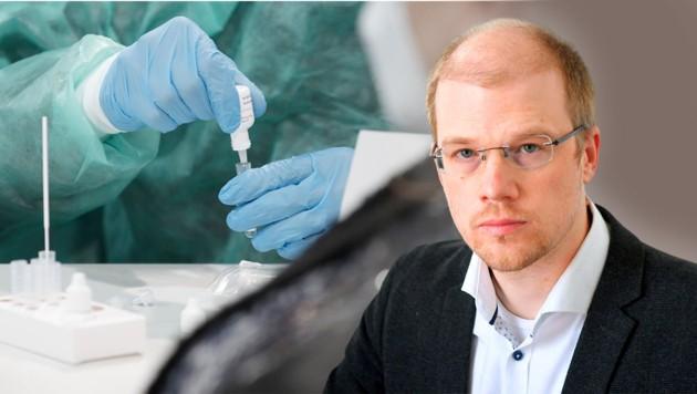 Der Virologe Andreas Bergthaler mahnt angesichts der zunehmenden Verbreitung der Corona-Mutationen zur Vorsicht. (Bild: APA/ROLAND SCHLAGER,Krone Kreativ)