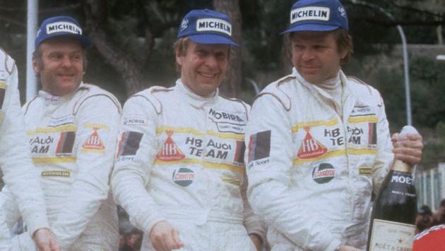 Hannu Mikkola (Mitte) mit seinen Teamkollegen. (Bild: AFP)