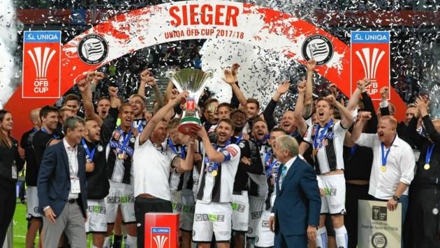 Nur gute Erinnerungen: 2018 holte Sturm in Klagenfurt den Cup-Pokal. (Bild: Sepp Pail)