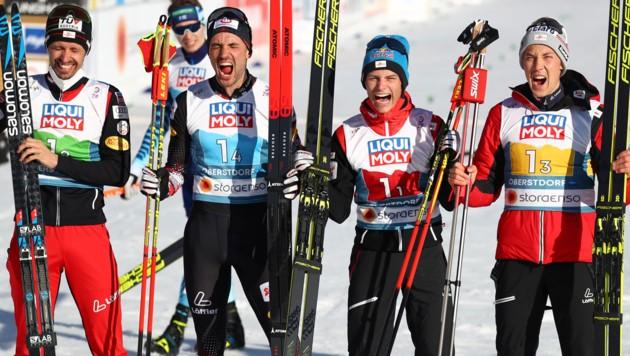 Von Links: Lukas Klapfer, Lukas Greiderer, Johannes Lamparter und Mario Seidl (Bild: AP)