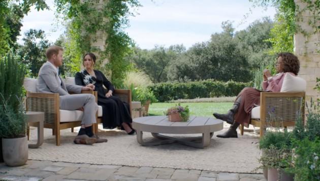 Prinz Harry, Herzogin Meghan und Oprah Winfrey (Bild: CBS)