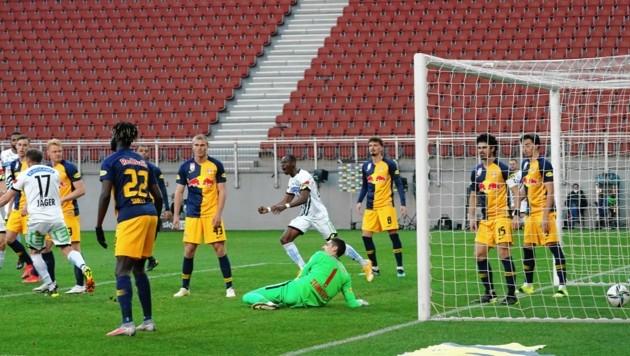 Die einstudierte Corner-Variante ging gegen Salzburg fast perfekt auf. (Bild: Sepp Pail)