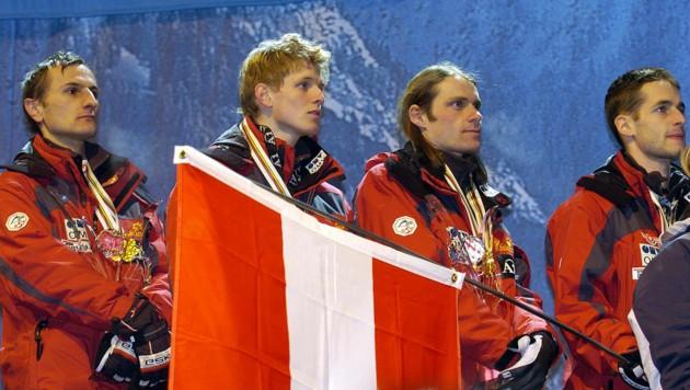 Martin Höllwarth, Thomas Morgenstern, Andi Widhölzl, Wolfgang Loitzl (v. li.) bei der WM 2005 in Oberstdorf (Bild: APA/GINDL/APA/Barbara Gindl)