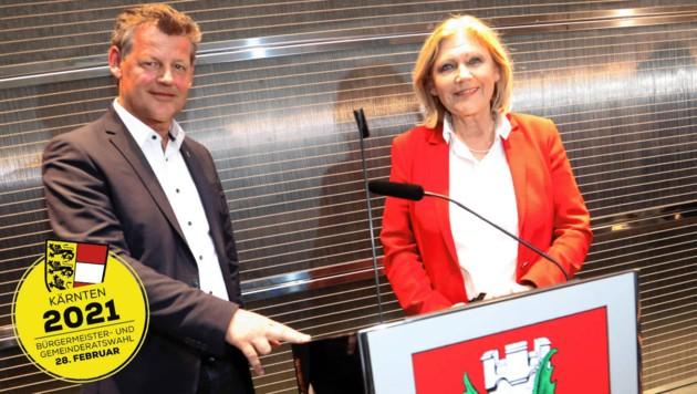 Die Klagenfurter Stadtchefin Maria-Luise Mathiaschitz von der SP und Christian Scheider (Team Kärnten) treten im Duell und den Chefsessel im Rathaus gegeneinander an. (Bild: Uta Rojsek-Wiedergut)