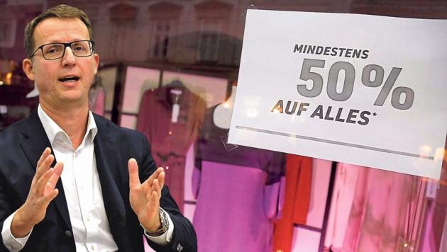 Handelsexperte Hannes Lindner sieht Textilketten als größte Opfer der aktuellen Krise. (Bild: Viennareport/Leopold Nekula, Krone Kreativ)
