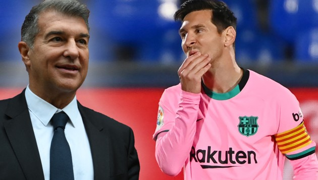 Barca-Boss Joan Laporta und Lionel Messi (Bild: AFP , krone.at-grafik)