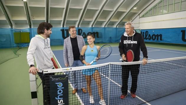 Talenteschau in Rif: Jürgen Melzer, STV-Präse Christian Zulehner, Arabella Koller, Gerald Mild (v.li.n.re.) (Bild: Tschepp Markus)
